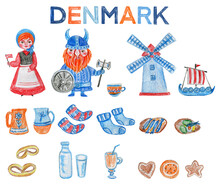 Set Of Hand Drawn Danish Symbols, Tea Cup, Windmill, Cartoon Viking, Kid Girl In Traditional Suit, Socks, Food, Scandinavian Dish Isolated On White, Simple Colorful Flat Icon, Decorative Design Sign