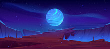 Alien Planet Surface Futuristic Landscape With Glowing Moon Satellite Rock Cliff Dark Starry Sky