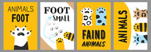 Animals Foot Posters Set Cat Paws And Claws Illustrations With Text On White And Yellow Background Cartoon Illustration