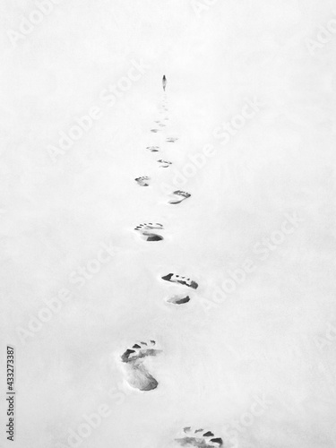 Fototapeta illustration of black and white footsteps in the sand, following person concept obraz