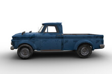 Side View 3D Rendering Of A Dirty Old Vintage Blue Pickup Truck Isolated On White.