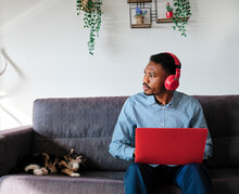 Thoughtful Male Entrepreneur Sitting With Laptop By Cat On Sofa At Home