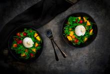Salad Made Out Of Rocket, Nectarine, Tomatoes, Lemon Balm, Basil And Burrata Cheese