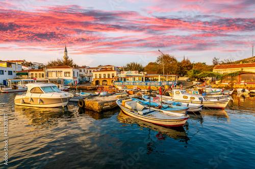 Bozcaada marina view. Bozcaada is populer tourist attraction in Aegean Sea.