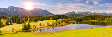 Panoramic Landscape With Alps Mountain Range At Springtime