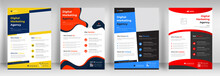Corporate Business Flyer Template Design Set With Blue, Orange, Red And Yellow Color. Marketing, Business Proposal, Promotion, Advertise, Publication, Cover Page. New Digital Marketing Flyer Set.