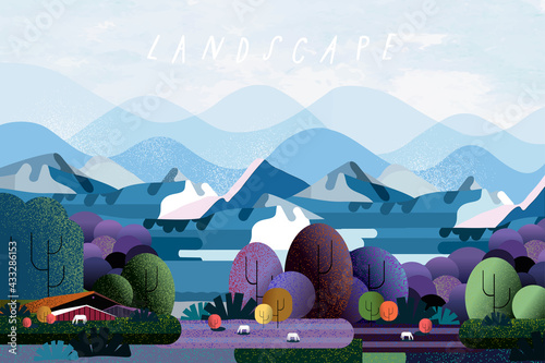 Fototapeta Nature and landscape. Vector illustration of trees, forest, mountains, flowers, plant, field, farm and village. Picture for background, card or cover obraz