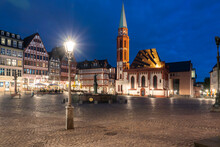 Night View Of Fountain Of Justice, Sculpture Of Justitia In Roemerberg With Old St Nicholas Church And Half Timbered Houses, Frankfurt, Germany