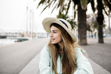 Smiling Woman In Hat Outdoors