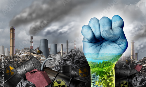 Fototapeta Ecological social justice environmental concept as a fist fighting for the environment and climate change equal rights or conservation society and fairness obraz