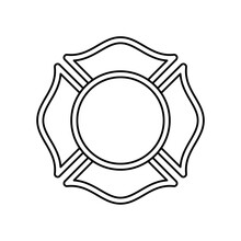 Firefighter Maltese Cross Outline Icon. Clipart Image Isolated On White Background