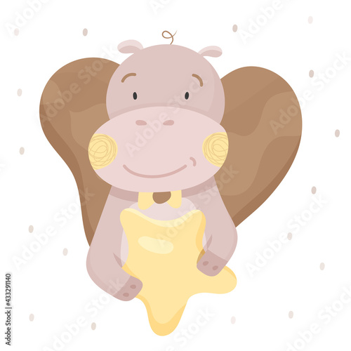 Canvas-taulu Cute hippo is holding a star