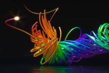 Digitally Generated Image, Multicolor Fiber Optic Wires
