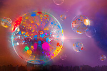 Digitally Generated Image Abstract Multicolor Bubble Over Cityscape