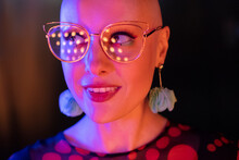 Close Up Portrait Stylish Woman In Retro Eyeglasses Looking Away