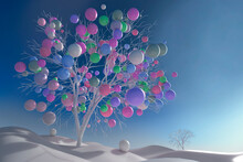 Digitally Generated Image Multicolor Balls Growing On Tree