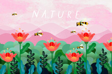 Nature And Landscape. Vector Illustration Of Trees, Forest, Mountains, Flowers, Bee, Plants,  Field. Picture For Background, Card Or Cover
