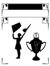 Page Header Frame Corners Silhouette Drum Majorette Cheerleader