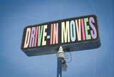 Fototapeta Młodzieżowe - Aged and distressed photo of drive-in movies sign