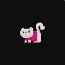 Pixel Art Cat With White Fur In A Pink T-shirt With A Dissatisfied Look
