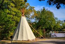 Tipi Near Lake Watonga In Roman Nose State Park, Watonga, Oklahoma, USA