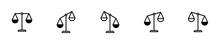 Conjunto De Iconos De Balanza. Concepto De Justicia Y Peso. Ilustración Vectorial Aislada En Fondo Blanco