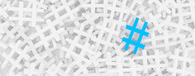 Hashtag Concept. Blue Hashtag On The Stack Of White Ones Banner Background. 3D Rendering