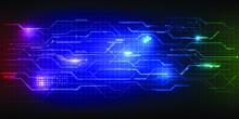 Spectrum Of Laser With Hi Tech Digital Grid Line Circuit Pattern.Futuristic Technology Concepts.Vector Illustration.