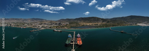 Papel de parede Aerial drone photo of industrial public Hellenic Petroleum refinery in area and