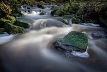 Hatch Brook Waterfall Flows Down The West Pennine Moors In Brinscall, Chorley