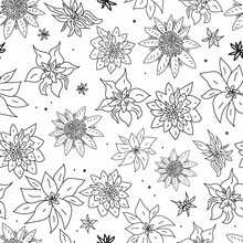 Vector White Black Flowers Doodle Background Pattern