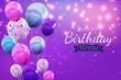 Leinwandbild Motiv Color Glossy Happy Birthday Balloons Background Illustration_3