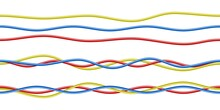 Colorful Realistic Red Blue Yellow Electricity Cables Isolated White