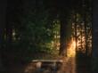 Leinwandbild Motiv Sonnenuntergang Abendrot Lüneburger Heide Lopau Lopautal See