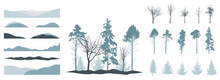 Creation Of Beautiful Winter Landscape, Woodland, Park Or Forest, Set Of Design Elements. Silhouettes Of Spruce Trees, Pines, Bare Trees, Snow Hill. Vector Illustration.