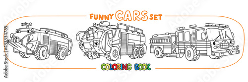 Canvastavla Fire truck or fire engine coloring book set