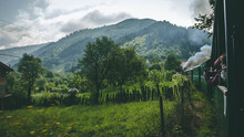 The Romanian Mocanita Steem Train Going Through The Green Mountains