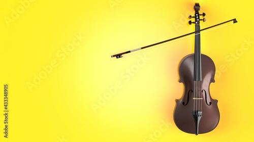 Canvas Brown classic violin on yellow plate under spot lighting background