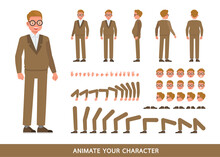 Businessman Character Vector Design. Create Your Own Pose.