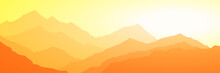 Sunrise In The Mountains, Panoramic View, Vector Illustration. Fantasy On The Theme Of The Morning Landscape.