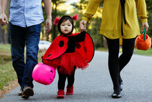 Girl Dressed As Ladybird With Trick Or Treat Bucket