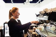 Coffee Shop Barista Making Coffee