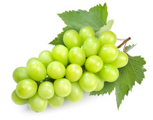 Japanese Shine Muscat Grape With Leaves Isolated On White Background,Sweet Green Grape Isolated On White With Clipping Path.