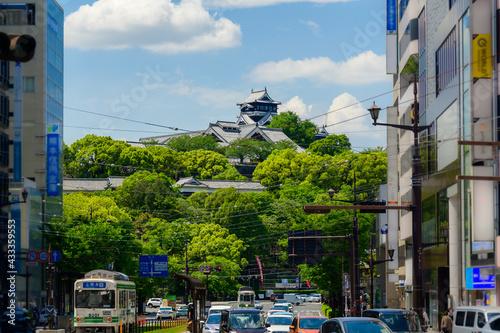 Fotografering 天守閣復旧完了 繁華街・ビジネス街・電車通り・風景2021年4月撮影 よみがえれ熊本城(復興シンボル)  日本・九州・熊本県熊本市2021年春撮影 Restor