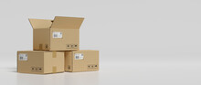3D Rendering, Cardboard Boxes Stacked In The Storage Warehouse