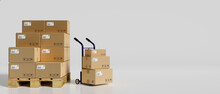 3D Rendering, Heap Of Cardboard Boxes In The Warehouse With A Cart In White Background