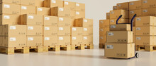 3D Rendering, Logistic Concept,  Cardboard Boxes Stacked In The Storage Warehouse With A Cart
