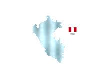 Peru Map Design Blue Circle, White Background With Peru Flag.