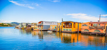 Colorful House Boats Floating On Water In Sausalito, March 2016: San Francisco , USA