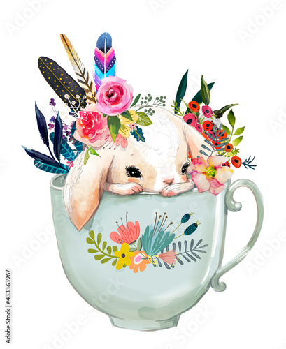 cute cartoon hare character with flowers in cup - fototapety na wymiar